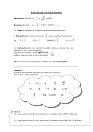 printables worksheets on rational and irrational numbers