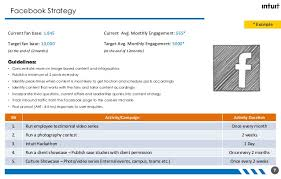 social media plan strategy template created for intuit