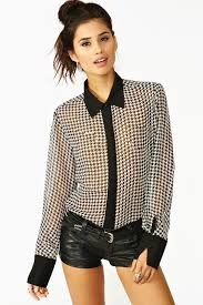 houndstooth blouse lyst gal houndstooth blouse in black