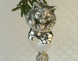 sterling silver kitten ornament silver kitten on