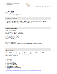 Html Resume Samples by A Good Resume Template Of A Sap Consultant With Be In Computer U0027s