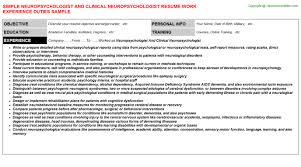 neuropsychologist and clinical neuropsychologist resume sample