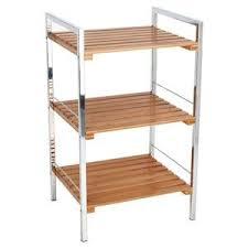 etagere meuble cuisine étagère 3 plateaux bambou acier chromé achat vente meuble