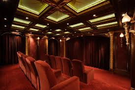 Home Theater Ceiling Lighting Microfiber Recliner Home Theater Traditional With Bronze Light