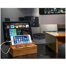 bamboo tablet and smartphone charging station 3 rack