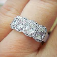 Reset Wedding Ring by Henri Daussi Four Stone Wedding Ring With Halos Ladies Wedding