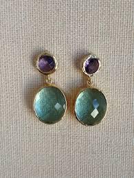 post type earrings purple amethyst and erinite glass post earrings drop dangle