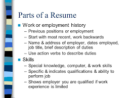 Resume Job History Health Occupations Job Skills Ppt Video Online Download