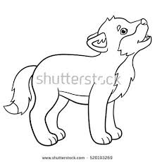 coloring pages little cute baby wolf stock vector 520193269