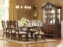 dining room traditional formal dining room with 9 pieces dining traditional formal dining room with 9 pieces dining sets with carved dark wooden chairs and table with beige cushion and also simple vintage chandelier