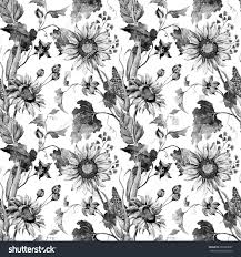 pumpkin pattern wallpaper watercolor black white autumn flowers wallpaper stock illustration