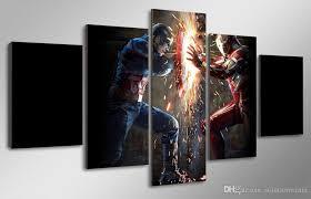 Captain America Decor Discount 5 Panel Hd Printed Captain America Civil War Painting