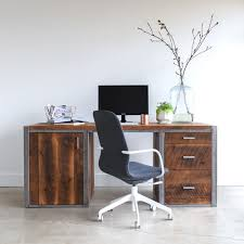 Modern Desk With Drawers Industrial Modern Desk 3 Drawer 1 Door What We Make