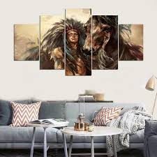 Feather Home Decor Native American Art Painting Canvas Print Indian Home Decor