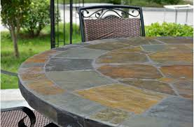 Tiled Patio Table 63 Slate Outdoor Patio Dining Table Oceane