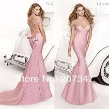 new 2014 tarik ediz deep low back sheer mermaid prom dress chiffon
