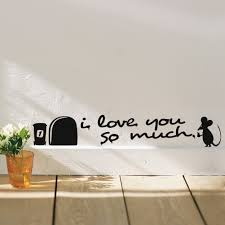 Wall Decal For Living Room Aliexpress Com Buy I Love You So Much 3d Funny Mouse Hole Wall