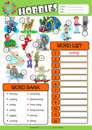 hobbies esl find and write the words worksheet for kids mau hinh