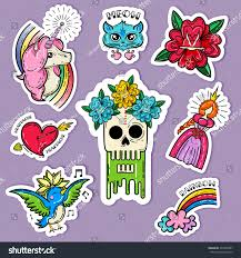 cartoon tattoo stickers set cat singing stock vector 497692987