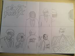 initial sketches for daft punk album matt wyles design
