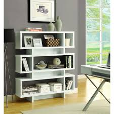 monarch specialties white open bookcase i 2532 the home depot