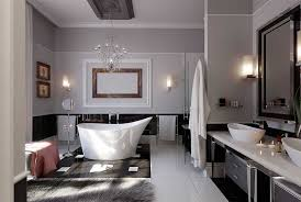 elegant bathroom lighting with unique white bathtub and glass