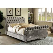 furniture of america noella fabric upholstered cal king sleigh bed