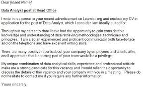 sample analyst cover letter analyst cover letter example