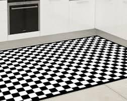 Black And White Checkered Kitchen Rug Vinyl Floor Mat Etsy