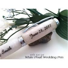 guest book and pen white pearl wedding guest book pen