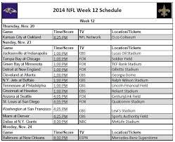 printable 2014 nfl week 12 schedule