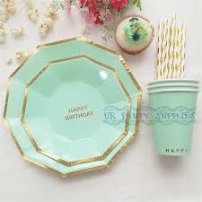 24 sets sweet pastel mint foil gold paper tableware hexagon paper