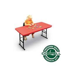 plastic folding tables adjustable height correll adjustable height plastic resin folding table 24 x 48