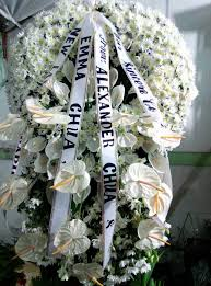 funeral flowers delivery cebu funeral flowers wreath w cascading cebu only flower