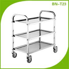 cosbao stainless steel restaurant dining room trolley two tiers