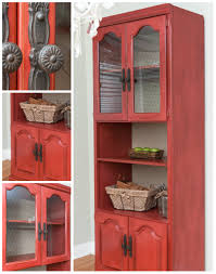 Red Corner Cabinet Fall Struck And A Red Chicken Wire Hutch Salvaged Inspirations
