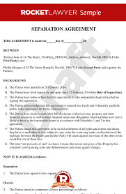 agreement separation agreement template form