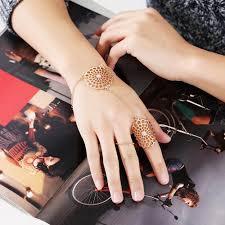 bracelet ring online images Pameng new fashion silver color connect finger chain flower jpg