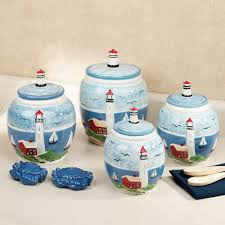 canisters kitchen decor handpainted lighthouse kitchen canister set 89 99 kitchen