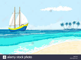 summer sea view with sailboat and palms island seaside