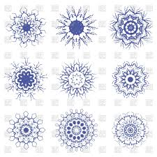 blue geometric ornaments set isolated on a white background