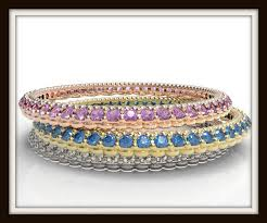 color gemstone rings images Three tone gold multi color gem and diamond pave microbands jpg