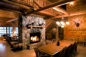 decorations amazing hunting lodge with brick fireplace and