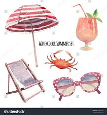 Beach Chair Umbrella Set Watercolor Beach Vacation Set Hand Drawn Stock Vector 287089391