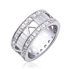 numeral ring sterling silver cz numeral band ring