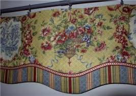 Toile Window Valances French Country Window Treatments Layered Scalloped Valance