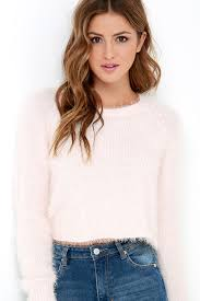 crop top sweater light pink sweater fuzzy sweater cropped sweater 59 95