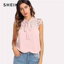 blouses with bows at neck shein pink guipure lace applique neck bow top stand