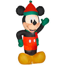 shop gemmy 6 ft x 2 88 ft lighted mickey mouse christmas