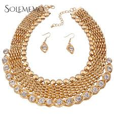 gold set for marriage fashion vintage necklace earrings wedding bridal jewelry sets for